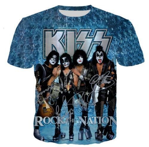 Nuevo Rive Kiss Banda Gracioso 3D impresión Casual Camiseta para mujeres y hombres Mangas Cortas Prendas para el torso