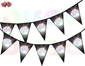 Disco-Ball-Happy-Birthday-I-Love-70-039-s-80-039-s-90-039-s-Theme-Bunting-Banner-15-flags