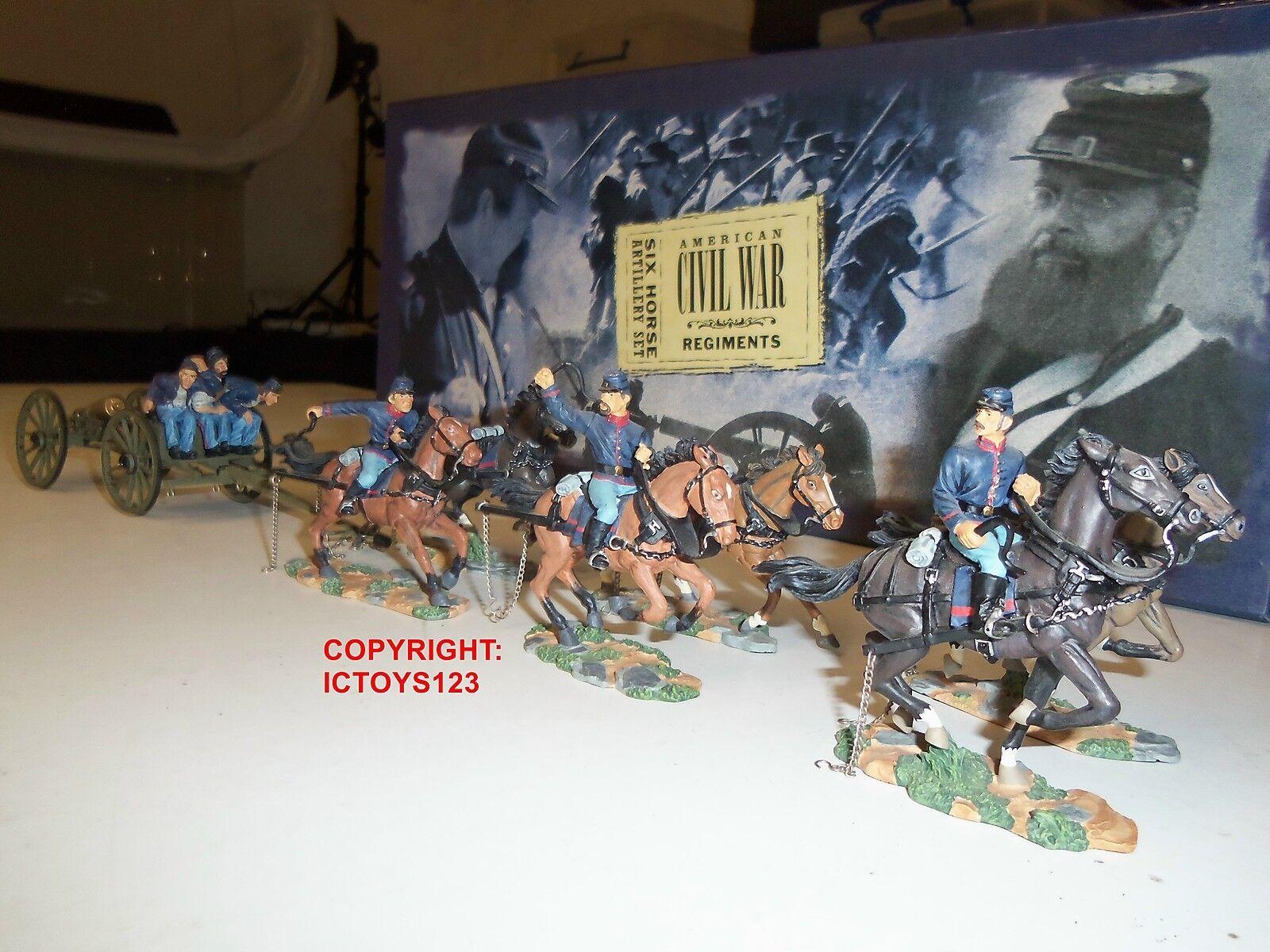 BRITAINS 17379 UNION INFANTRY SIX HORSE ARTILLERY GUN LIMBER + CREW FIGURE SET