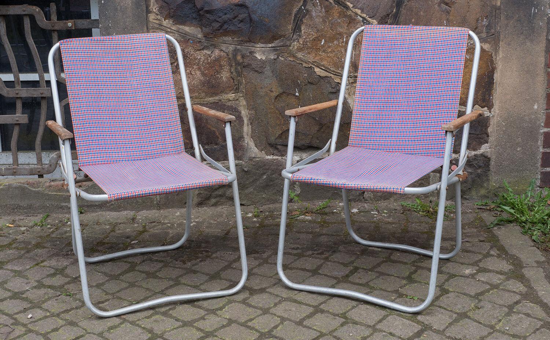 2 x alter DDR Alu CAMPINGSTUHL, Liegestuhl, vintage 70er Jahre Gartenmöbel
