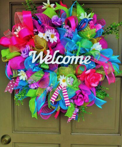 Handmade LED Lit Spring Summer Wreath Light Up Deco Mesh Floral Door Decor