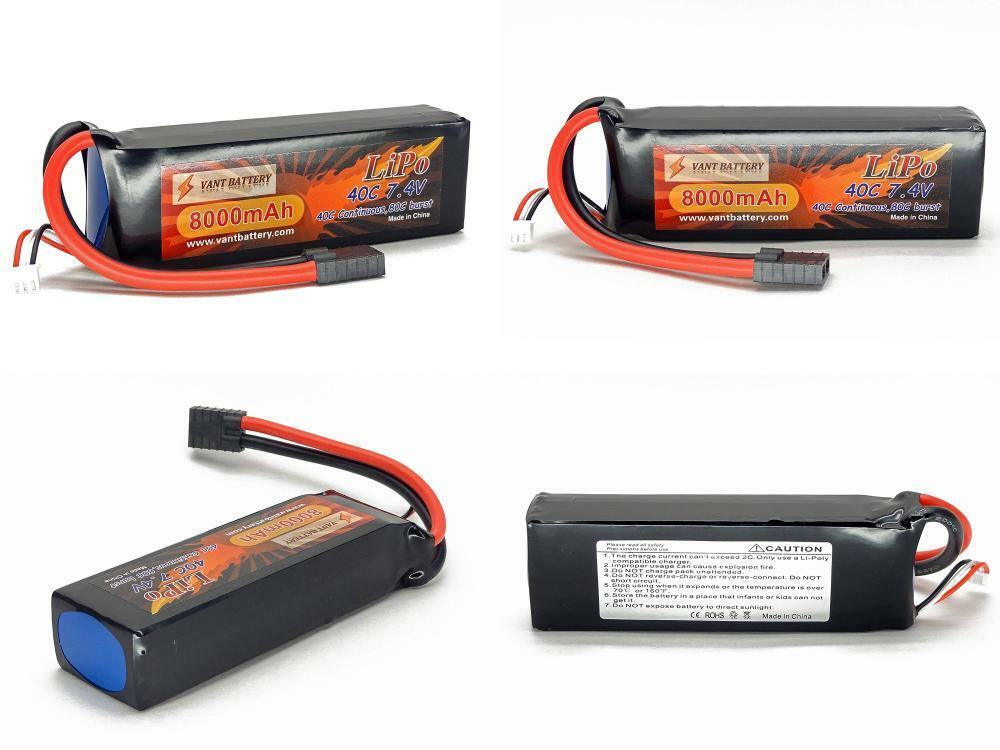 7.4V 800mAh 2S cell 40C-80C LiPo Battery Pack w  Traxxas High Current...
