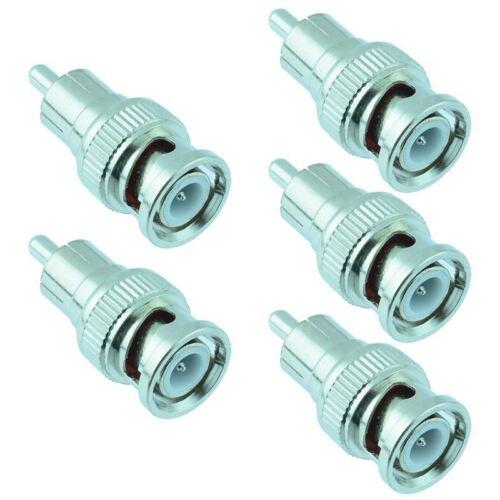 5 x BNC Male to RCA Male Phono Plug Adaptor Connector CCTV