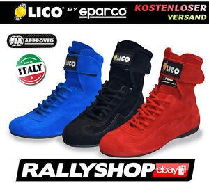 FIA-LICO-FIRE-HOCH-SCHUHE-Motor-sport-Wildleder-Groesse-36-40-Schwarz-Rot-Blau