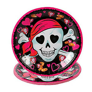 PINK-PIRATE-PARTY-Skull-Pirates-Lunch-Dinner-Disposable-Paper-Plates-Pack-of-8
