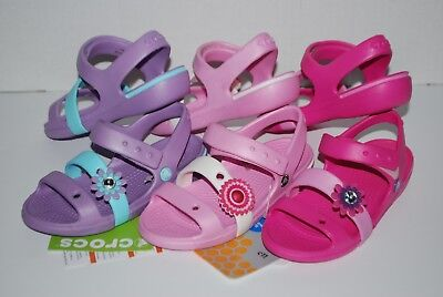 NWT CROCS CROCBAND SLINGBACKS GIRLS sandals AQUA BLUE PINK 8 9 10 11 11 12 shoes