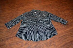 B12-Coldwater-Creek-3-4-Length-Sleeve-Button-Down-Shirt-Size-M-10-12