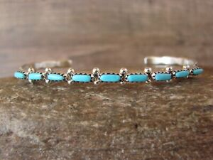 Zuni-Indian-Sterling-Silver-Turquoise-Row-Bracelet-by-M-Hannaweeka