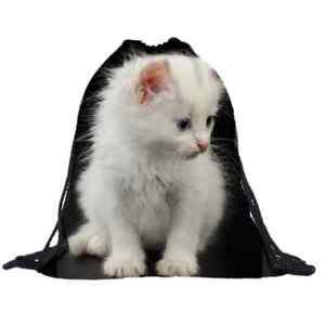 Drawstring Backpack White Cats Gym Bag