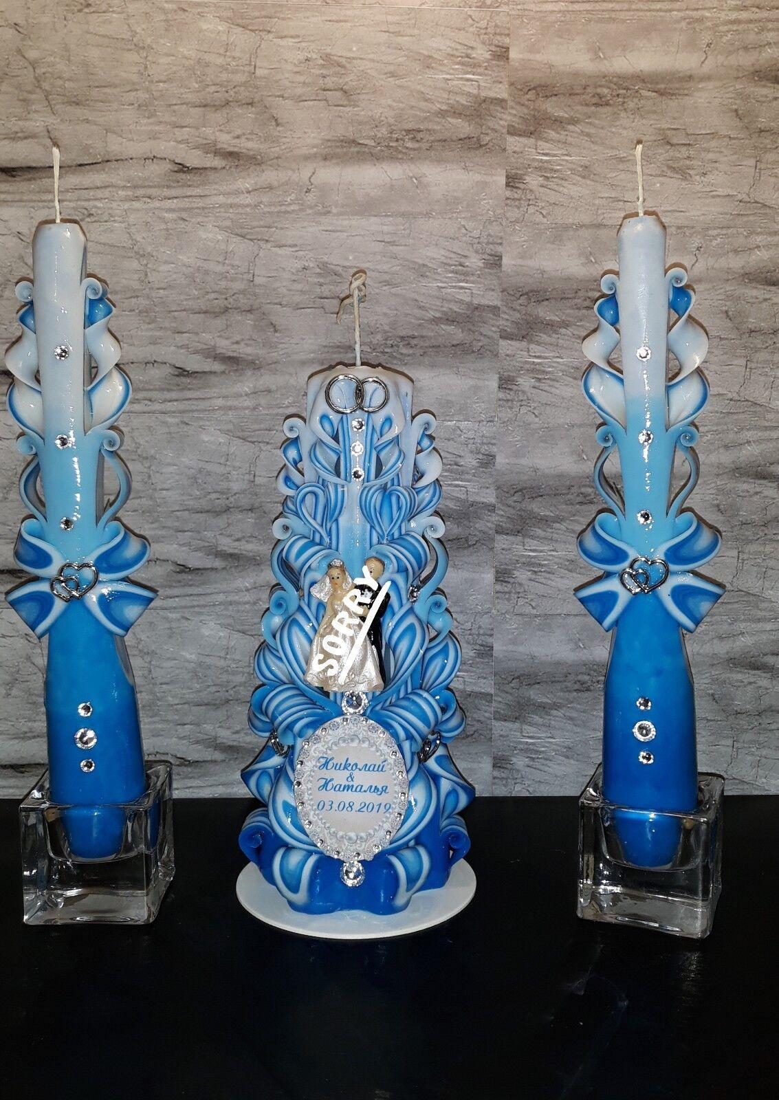 Hochzeitskerzen Set22 u25 cm mit Brautpaar Geschnitzte Kerze Handmade Brautkerze