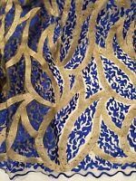 Royal Gold Embroidery Rhinestone Bridal Mesh Lace Fabric 52 Wide 1 Yard