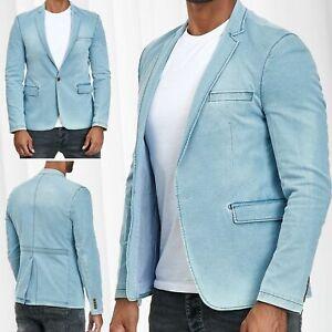 Herren-Sakko-Jeans-Blazer-Denim-Jacke-Anzug-Weste-Casual-Business-Used-washed