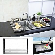 Dish Drying Rack Stainless Steel Roll Up Over Sink Drainer Holder Kitchen  Tray