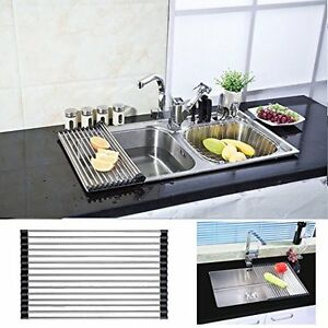dish drying rack stainless steel roll up over sink drainer holder rh ebay com kitchenaid dish drying mat drymate kitchen dish drying mat