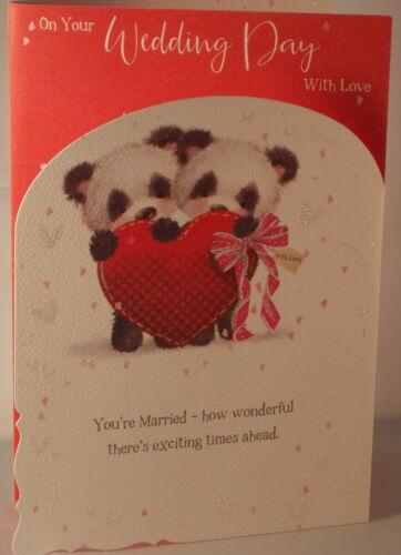 Sur le jour de votre mariage avec amour par trois carte avec pandas 19.5 cm x 13.5 cm