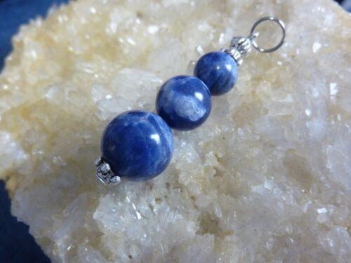 Pendentif Sodalite perles rondes 12-10-8 mm