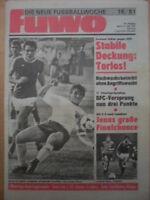 FUWO 16 - 21.4. 1981 ** Dörner Italien-DDR 0:0 BFC-FCK 5:0 Jena-Wismut Aue 2:0