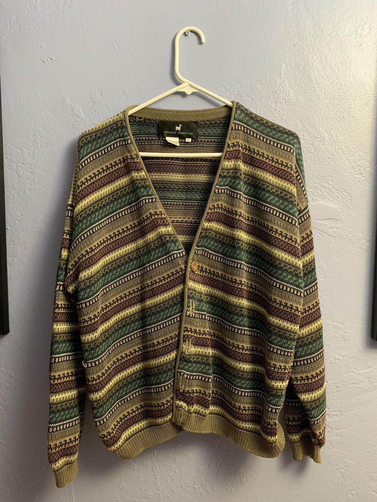 Peruvian Connection Cardigan Cardigan Cardigan Sweater Pima Cotton Size L be65c5