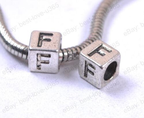 "10pcs Tibetan Silver /""A-Z/"" Alphabet Letter Cubes Block Beads 7MM hole:4.5MM"
