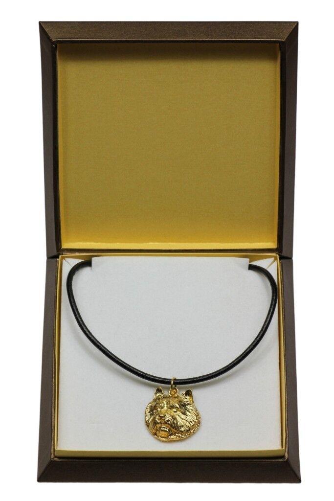 Norwich Terrier  collier doré avec un  en dans une boîte, Art Dog FR
