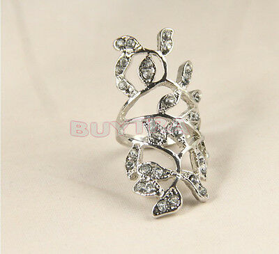 New Chic Luxury Plated Crystal Long Branch Leaf Knuckle Wrap Finger Ring