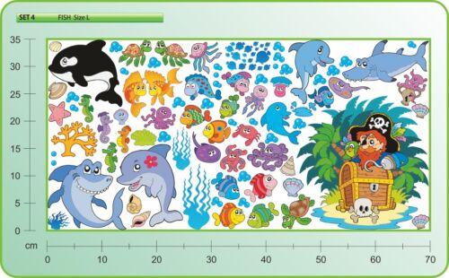WANDTATTOO Fisch Delfine Haie Ozean Pirates Kinderzimmer Wand Aufkleber SET 4