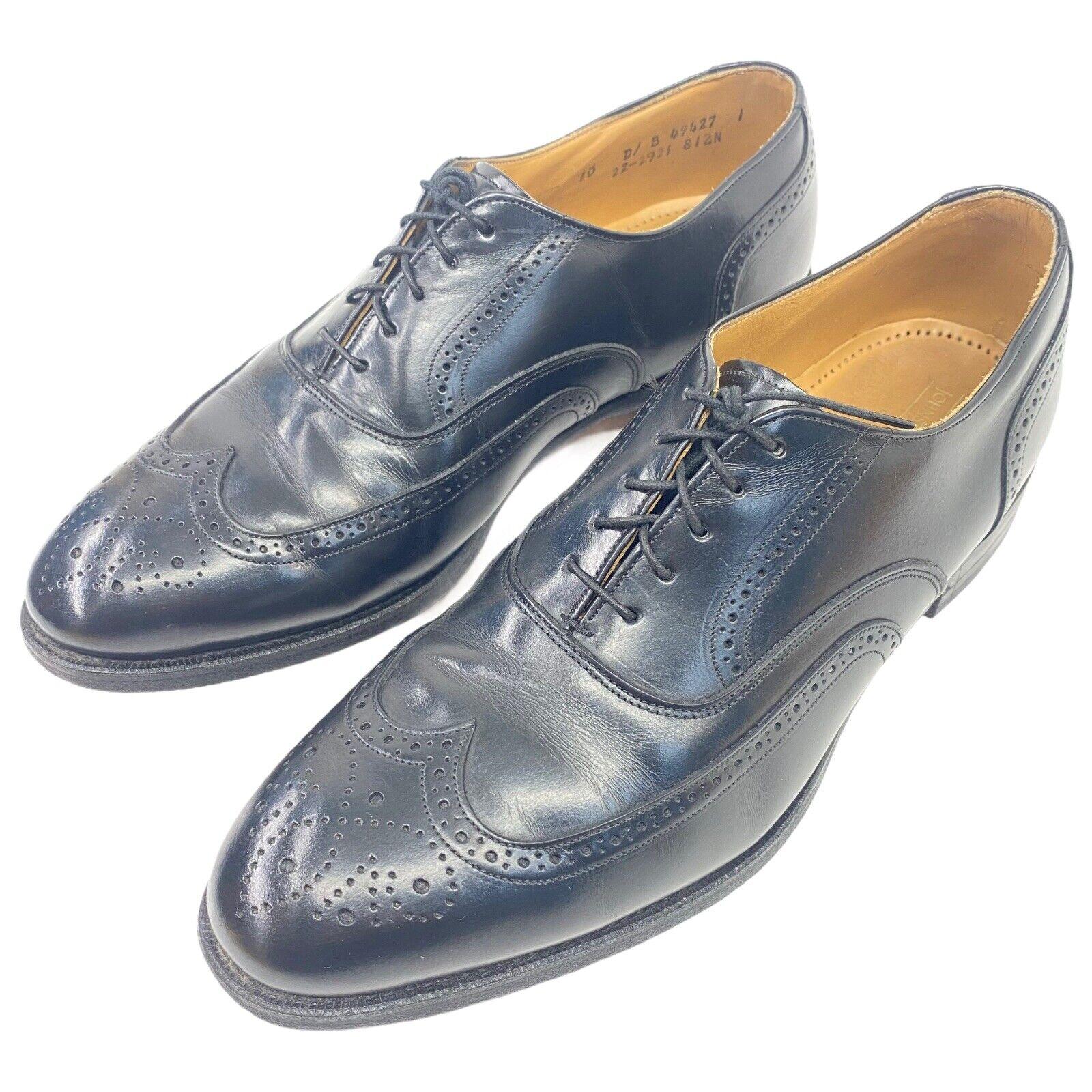 Johnston Murphy Mens Waverly Wingtip Oxford Shoe Optima Black Leather Sz 10