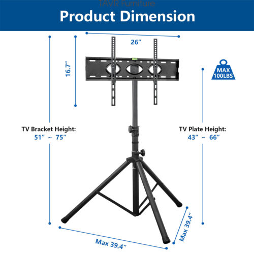 Portable Tripod TV Stand with Swivel /& Tilt Mount for 37-70 inch Flat Screen TVs