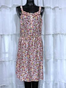 Size-10-BASS-Womans-Floral-Cotton-Smocked-Waist-Sun-Dress