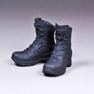 1 6 Scale Female Tactical Boots Black Shoes for Phicen 12