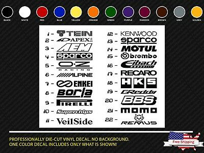 JDM Car Stickers 20 Sponsor Decals Aftermarket Racing Performance logos