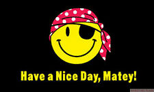 """HAVE A NICE DAY MATEY mini flag 9"""" x 6"""" 22cm x 15cm flags pirate smiley face"""