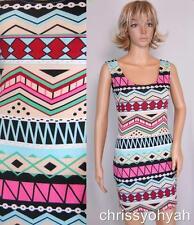 VTG 90s Mini Pink Aqua Geometric Cut-Out Body Con Bandage Party Sun Dress M