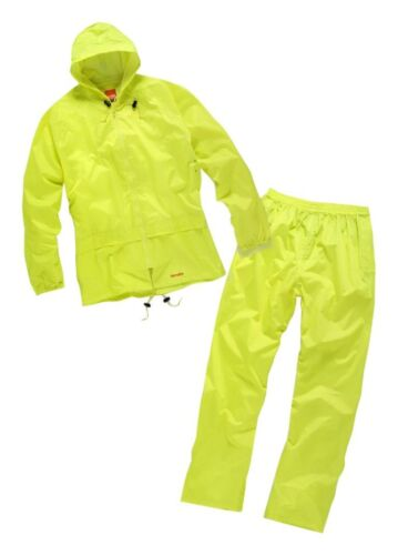 Scruffs Hi Vis Visibility Work Wear Safety Over Trousers//Waterproof Jacket Set L