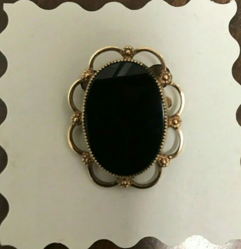 Catamore Neoclassical Gold Filled Filigree Onyx Brooch