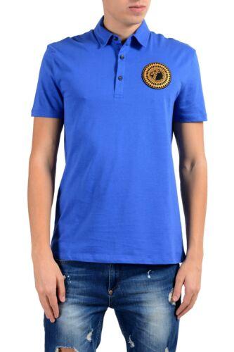 Versace Collection Men/'s Blue Logo Short Sleeve Polo Shirt