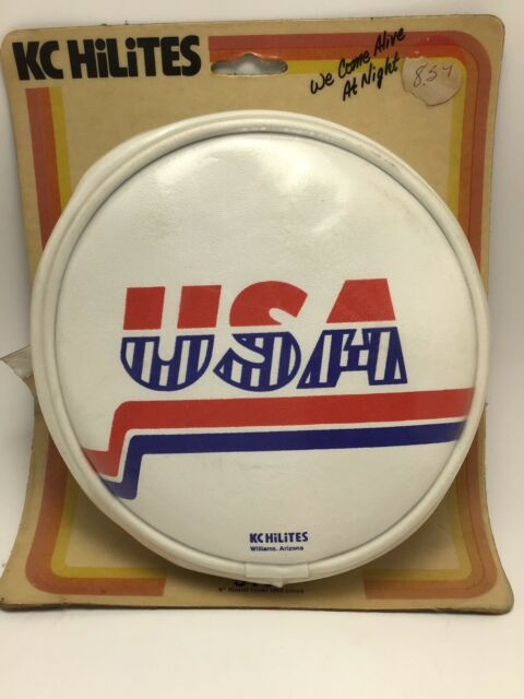 "Vintage KC HiLiTES 6"" Round White USA Soft Vinyl Light Covers Pair 5107 Off-Road"