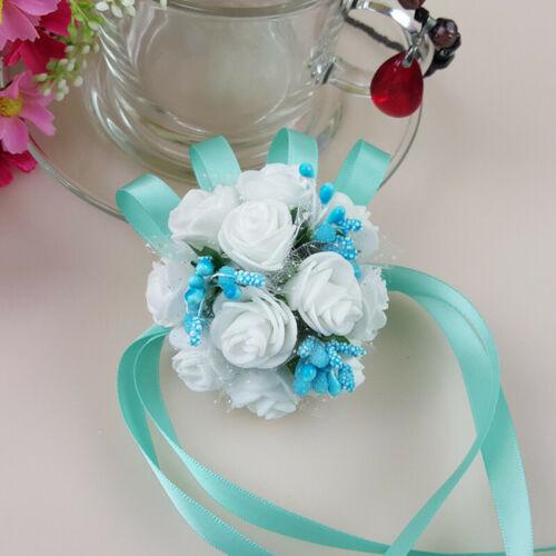 Wedding Wrist Flower Rose Silk Ribbon Bride Corsage Hand Flower Decor Supplies