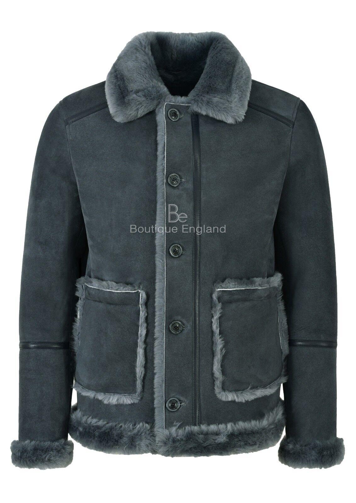 Men's Genuine Vintage Shearling Sheepskin Jacket grau  grau Fur WW2 Style F-44