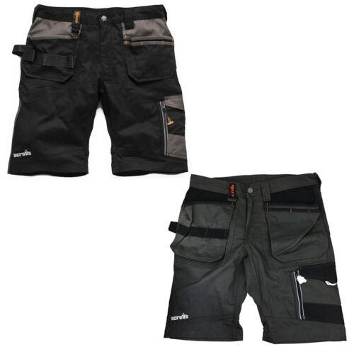 Scruffs Trade Lavoro Pantaloncini TWIN PACK NERO E GRIGIO più tasche resistente Cargo