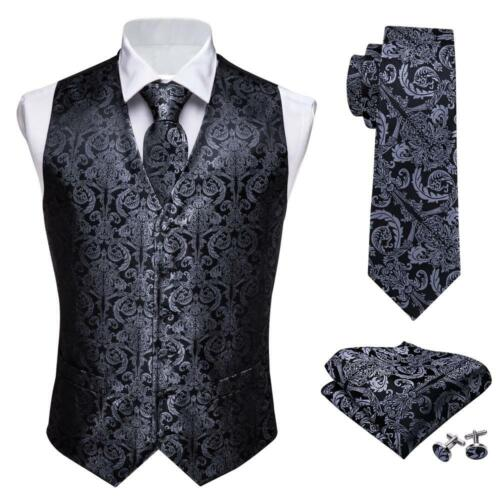 USA Mens Waistcoat Vest Paisley Black 100/% Silk Necktie Set Formal Casual