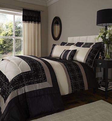 Catherine Lansfield Geo Embellished Gold Black Duvet Quilt Cover Set Bedding