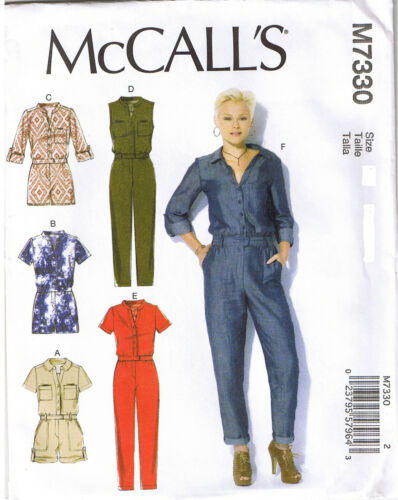 Button Up Utility Jumpsuit Romper McCalls Sewing Pattern XS S M 4 6 8 10 12 14