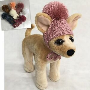 2e6d2e58608 Handmade Knit Clothes Pompom Hat with Ties for Dogs   Pets Size XXS ...