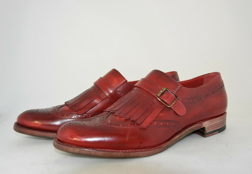Man-8½ Eu-9½us-kiltie Tassel Loafer-painted Red Calf-leather Sole