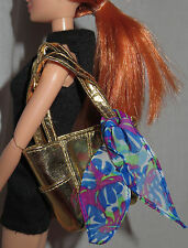 PURSE  ~ BARBIE BASICS GOLD BEACH TOTE BAG & BLUE SCARF MODEL MUSE ACCESSORY