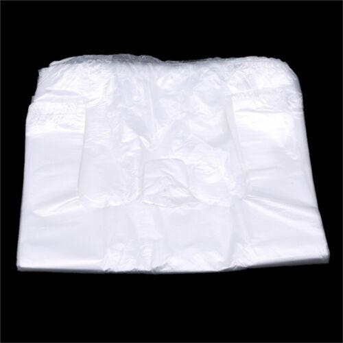 100PCS White Transparent Plastic Bags Supermarket Food Shopping Bag Packaging QK
