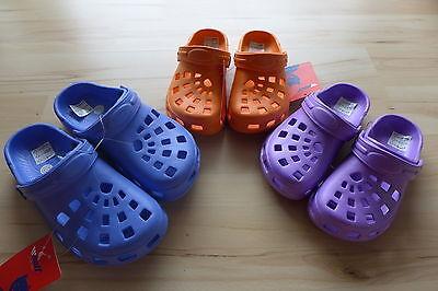 Jungen Mädchen Clogs blau orange lila 30 31 32 33 34 35 hochwertiges Phylon NEU!