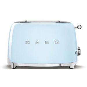 Smeg-Blue-50-039-s-Style-3D-Logo-2-Slice-Toaster-TSF01PBAU-Free-Delivery