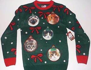 image is loading new ugly sweater cat ornament christmas sweater men - Christmas Sweaters Men